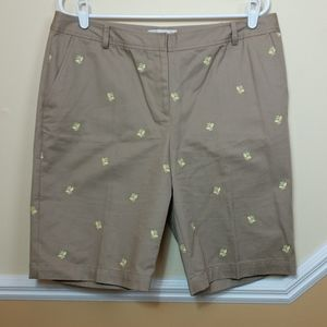 Talbot's Khaki Embroidered Shorts size 14